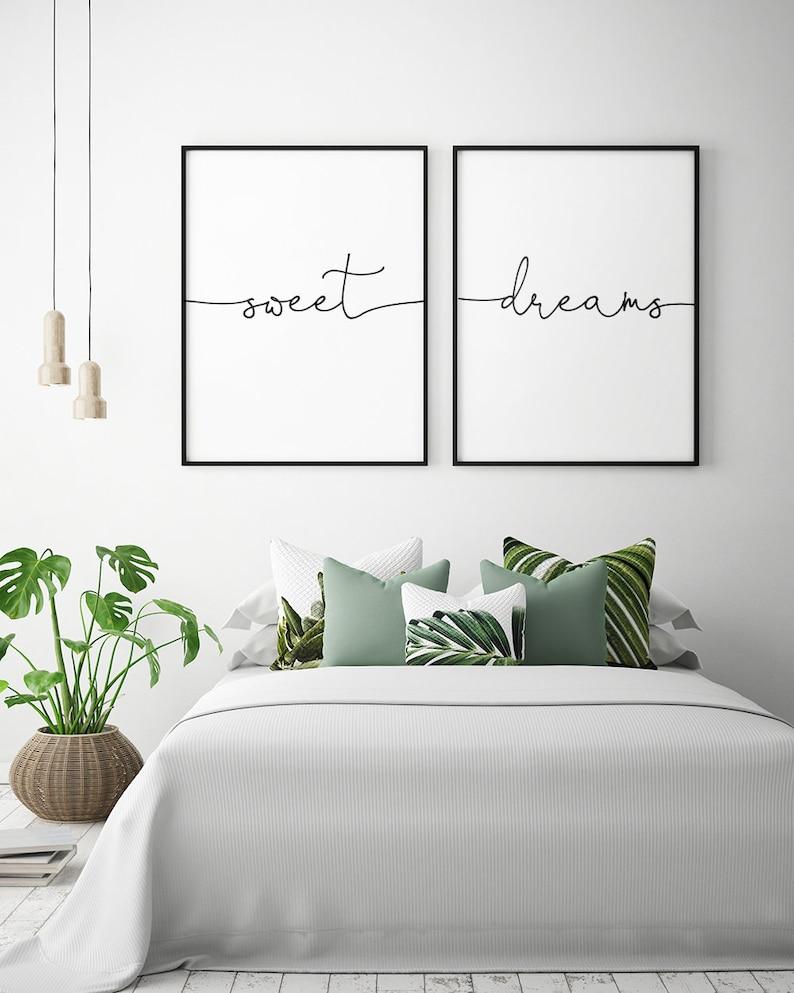 Above Bed Art: Sweet Dreams Printable Art Set of 2 Bedroom image 0