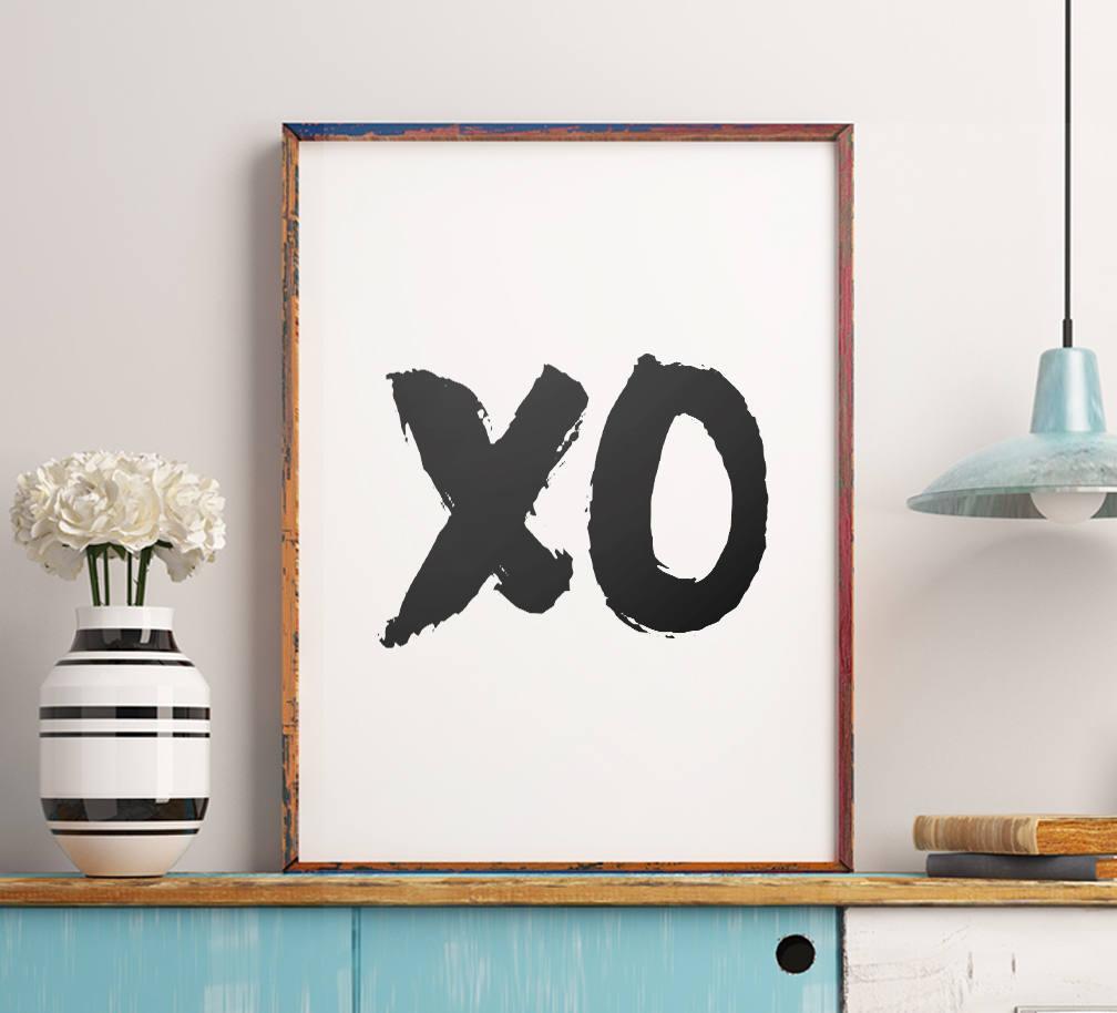Xo printable art poster xo wall art inspirational art bedroom wall decor girls room art home printable decor instant download