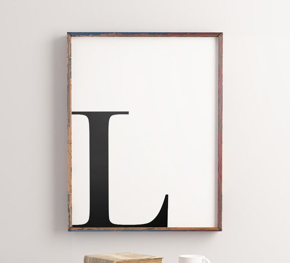 Initial Printable Art L Letter Word Art Alphabet Typography Art Minimalist Wall Quote Art Poster Instant Download