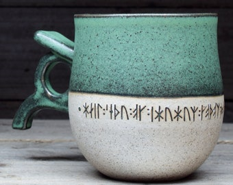 17oz/500mL Viking mug in tall Swedish style with runes. A pottery mug with authentic Viking-era runic inscriptions. Shipping included. MTO.