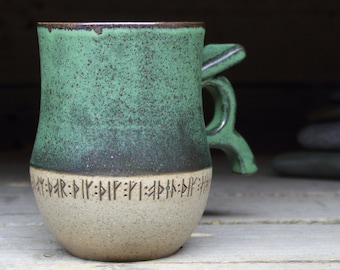 17oz/500mL Norwegian Viking Mug with real runic inscriptions from archaeology. Shipping included. Handmade stoneware. MTO.