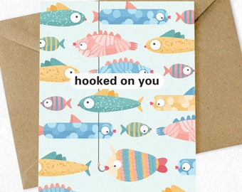 Valentine's Day Card 'Hooked on You' Card, Pun Card, Funny, Valentine Card, Greeting Card, Boyfriend Card, Girlfriend Card