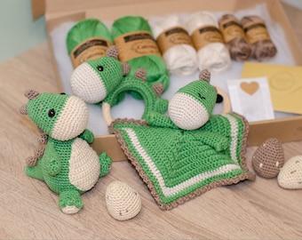 XXL DIY Crochet Set • Nauro the Dinosaur by Sameko Design • Amigurumi & Baby Set