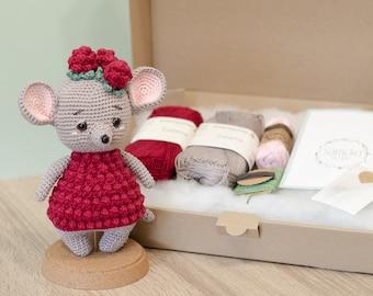 DIY Crochet Set • Hilde the Raspberry Mouse by Sameko Design