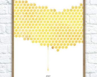Honeycomb Art Print A4 (210mm x 297mm)