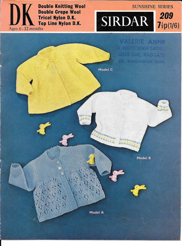 3824e4b47 Vintage Baby Knitting Pattern 6 12 months DK Sirdar 209