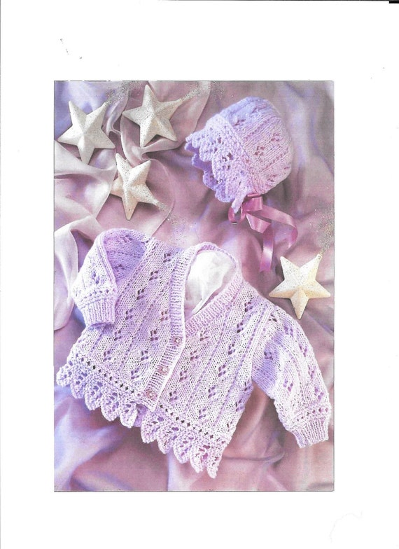 Please Read PDF Sirdar 3009 Vintage Baby Knitting Pattern, Instant Download, Girls Cardigan and bonnet 0-6 year, double knitting DK