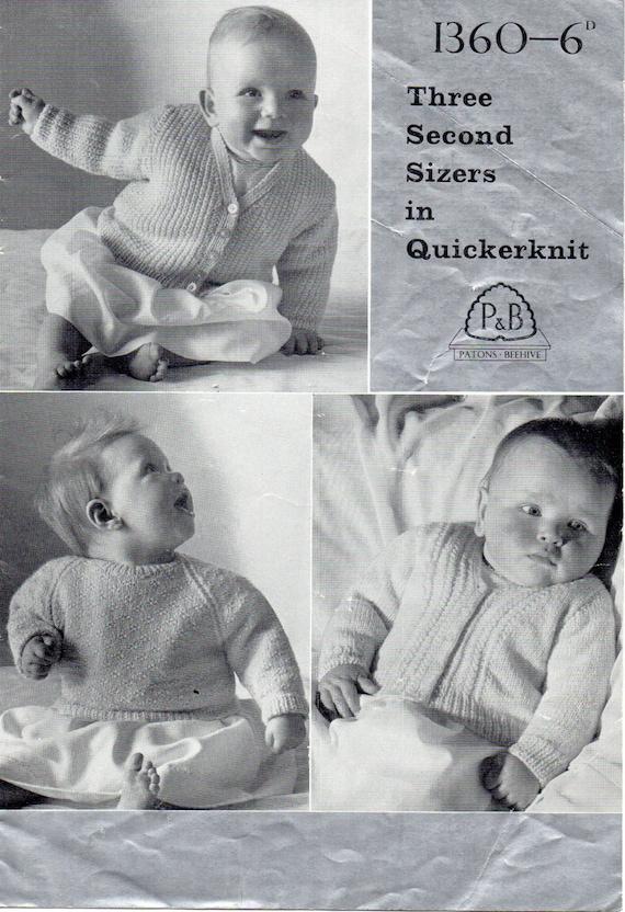 Pdf Vintage Baby Knitting Pattern Patons Pb 1360 Cardigans Etsy