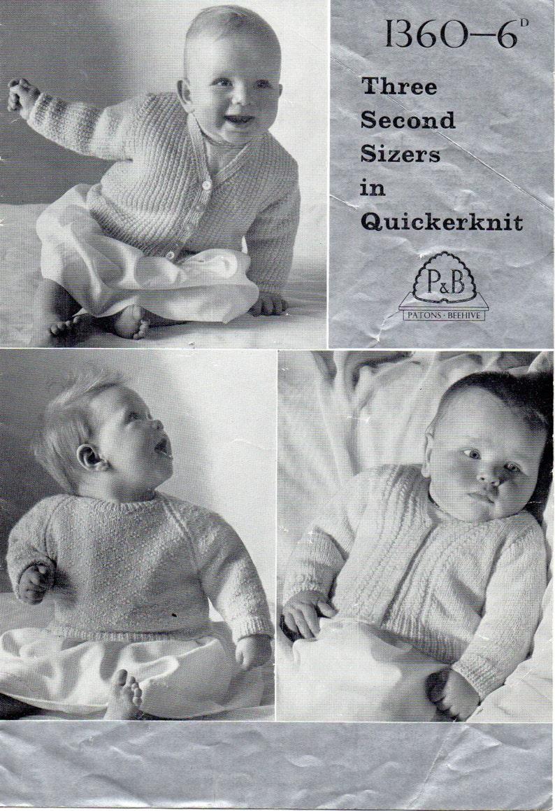Pdf Vintage Baby Knitting Pattern Patons P B 1360 Cardigans Etsy