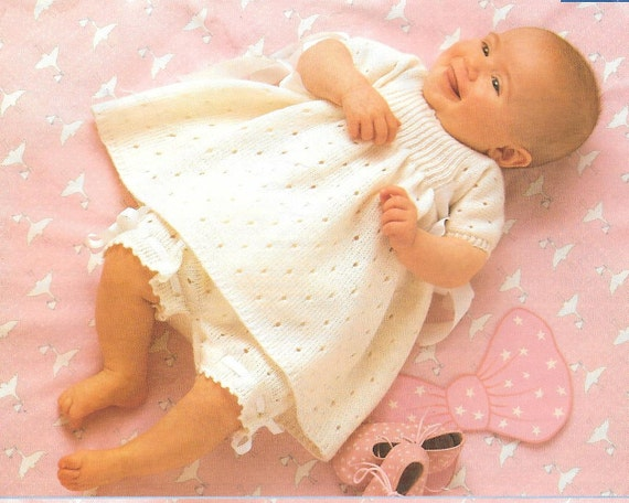 03a48f516 Vintage Phildar 8730 4 ply Baby Girl and Boys Dress Romper