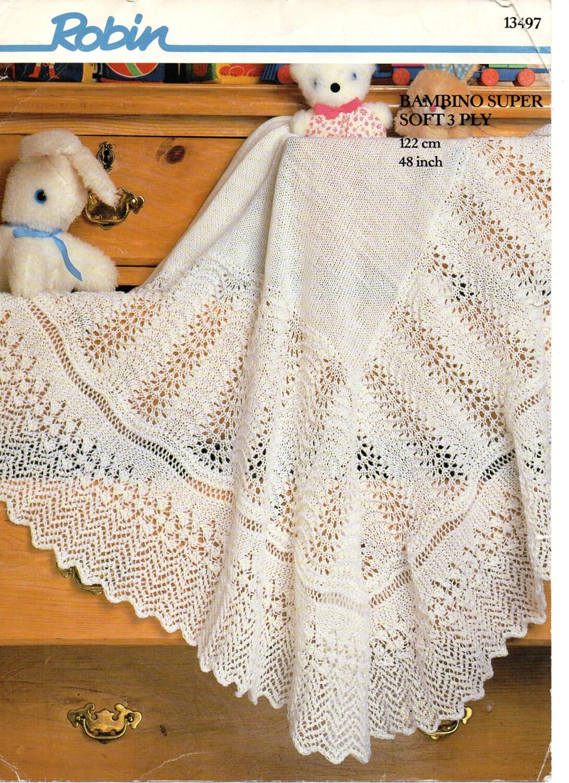 13ff934e3 Robin 13497 Vintage Baby Knitting Pattern Shawl   Blanket