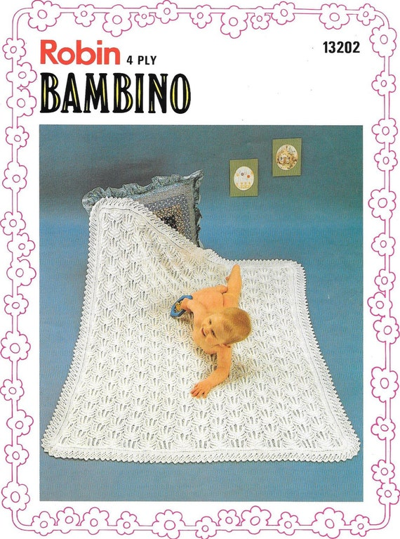 3cf27c6de Vintage Robin 13202 Bambino Baby Shawl Knitting Pattern 4 ply