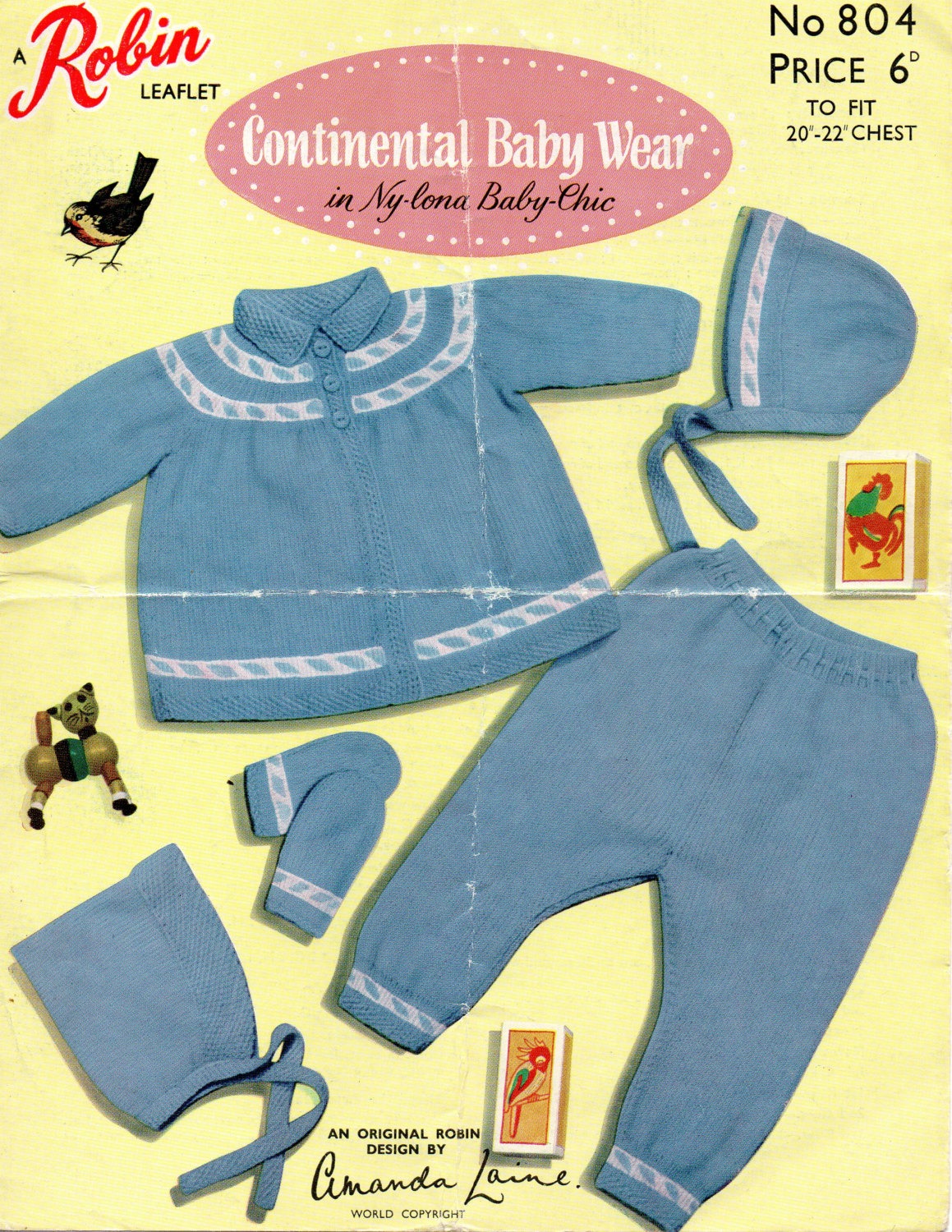 cc82ea9b1 PDF Robin 804 Vintage Baby Girls Pram Set Knitting Pattern