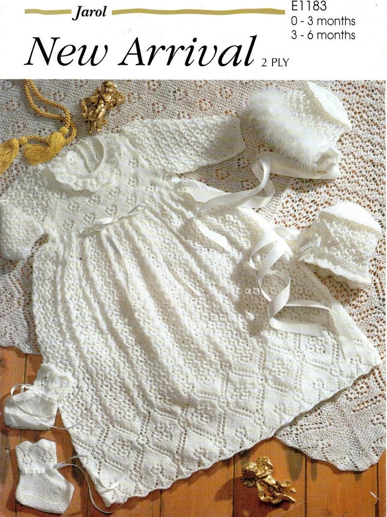 cb1efcece Jarol E1183 Vintage Christening Knitting Pattern 2 ply 0-6