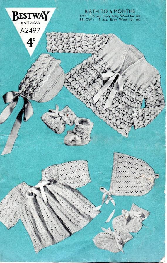 fede40c82f40 PDF Bestway 2497 Vintage Baby Knitting Pattern 0-6 months 3
