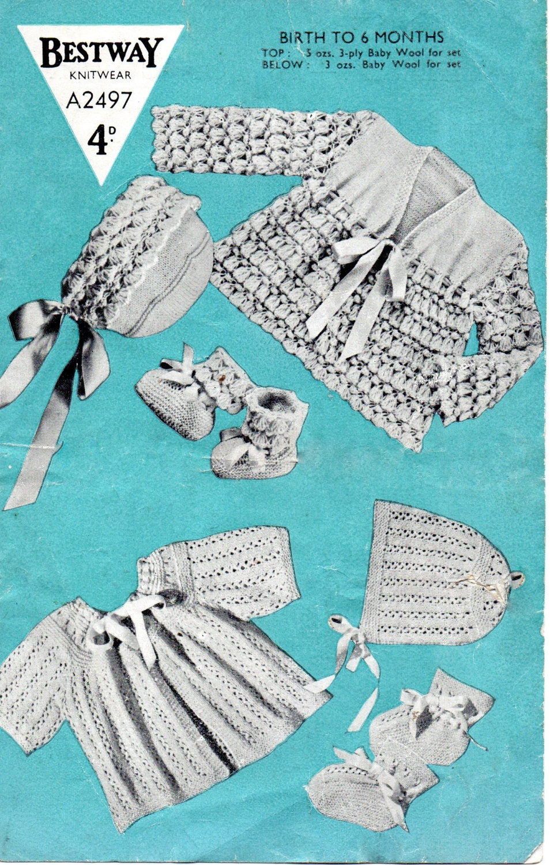 1f6f5d89f PDF Bestway 2497 Vintage Baby Knitting Pattern 0-6 months 3