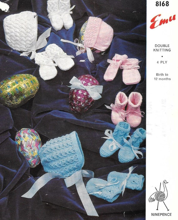 Baby Bootees 3 ply 3 months birth Vintage Sirdar 3176 Knitting Pattern