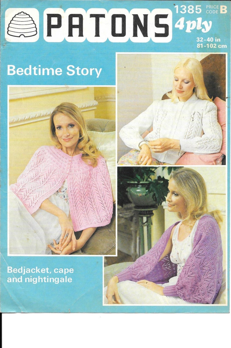 37d4d6fcc Vintage Patons 1385 womens Knitting Pattern Bedjacket cape