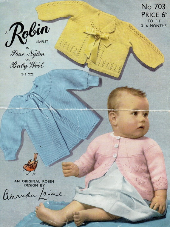 a0f7b7672 PDF Robin 703 Vintage Baby Knitting Pattern 3-6 months