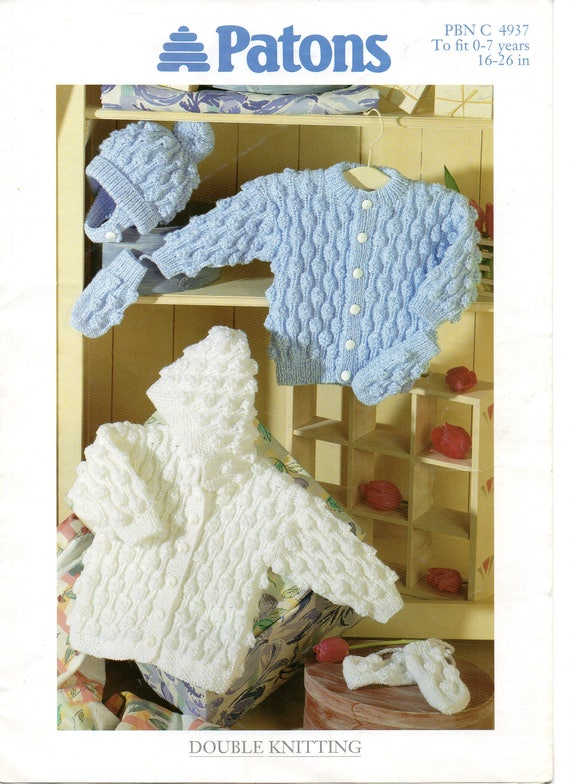 Pdf Instant Download Vintage Baby Knitting Pattern Patons 4937 Etsy