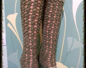 Socks green, crochet handmade
