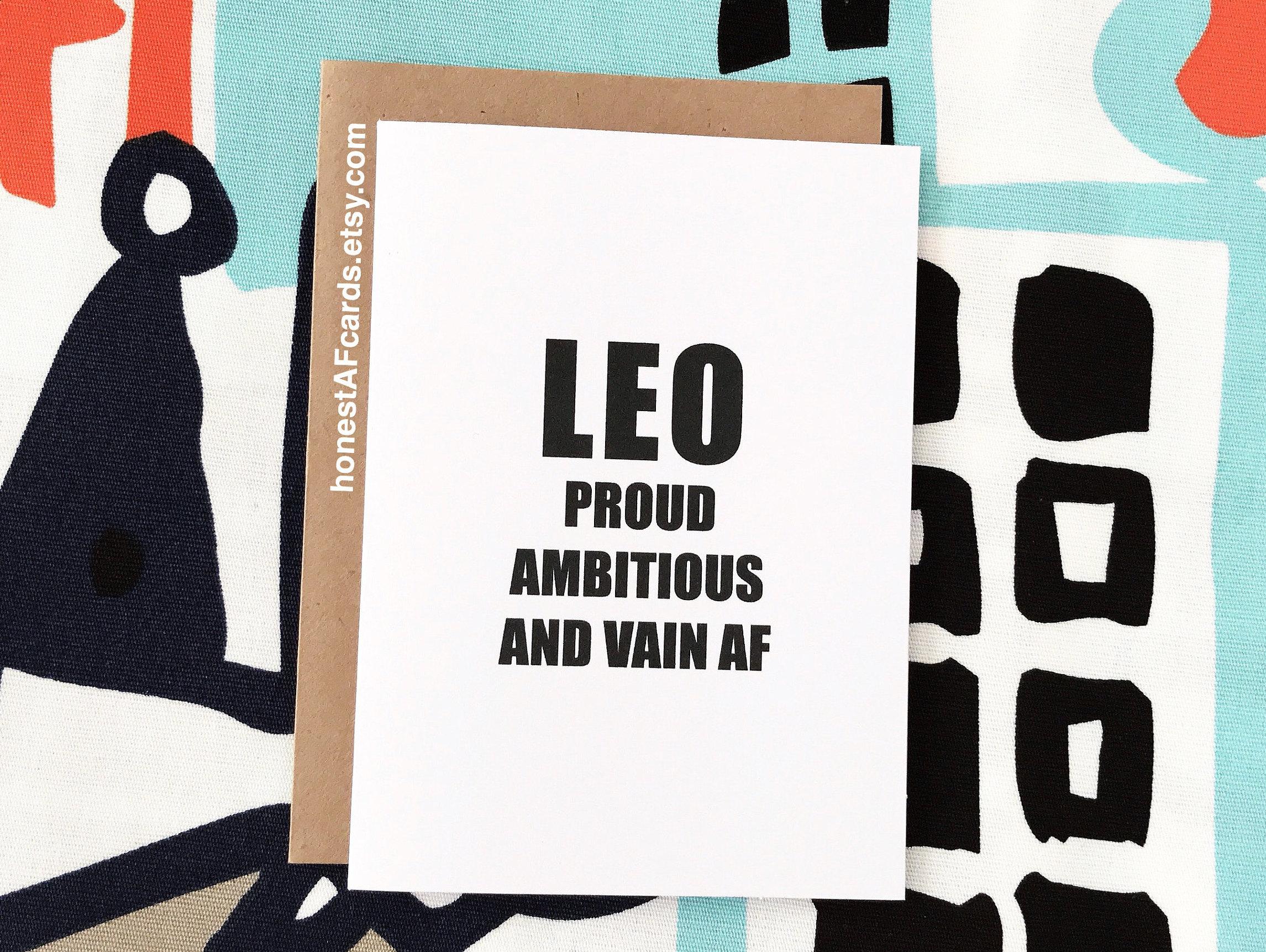 Zodiac Sign Birthday Card LEO Birthday Card Funny Birthday | Etsy