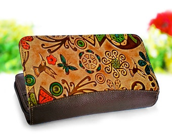 cc52d6af376d7 Wallet women, zipper wallet, clutch wallet, leather womens wallets embossed  and handpainted with birds butterflys and flowers D