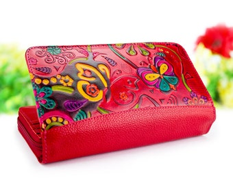 Wallet women, zipper wallet, clutch wallet, leather womens wallets embossed and hand painted with birds butterflys and flowers D