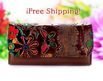 Wallets for Women, Long Wallet leather, Wallet, Handmade Women Wallet, Leather Wallet, Long Women Wallets
