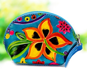 Pouch for women, leather pouch, leather small pouch, coin purse, small purse, hand painted and embossed