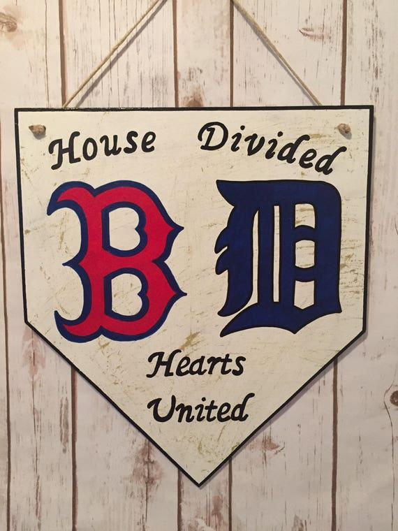 Yankees sign house divided home plate sign house divided sign NY Yankees home plate sign Detroit Tigers home plate sign Detroit Tigers