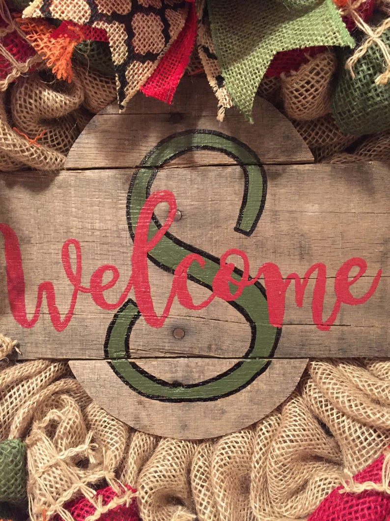 rustic look wreath burlap front door wreath personalized wreath monogram wreath pallet sign wreath all season wreath last name wreath