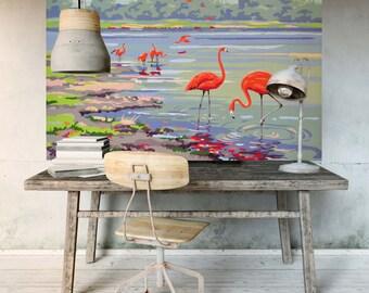 Flamingo wall mural Etsy