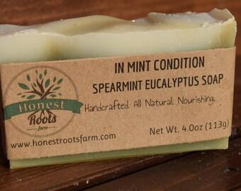 Spearmint Eucalyptus Soap - Mint Soap - All Natural Soap - Essential Oil Soap - 4.0 oz Bar Soap -