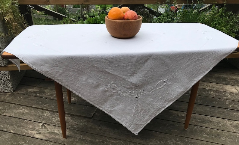 Scandinavian Textile White on White Embroidery 1950s Vintage Table Topper Mid Century Home Decor MCM Hemstitched Cotton Tablecloth