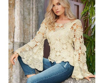 bell sleeve top pattern,detailed tutorial,crochet wedding top,crochet summer blouse,crochet crop woman top sweater,crochet crop lacy blouse,