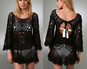 crochet tunic pattern,detailed tutorial,crochet mini dress pattern,crochet boho tunic,crochet cover up,crochet beachwear,crochet designer
