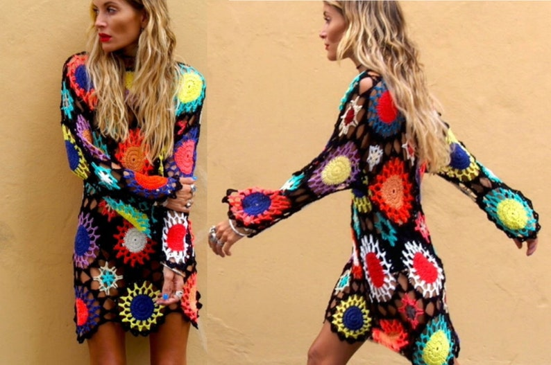 cf0bc52fa87 Crochet colorful dress patterndetailed tutorialboho hippie