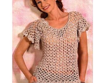 crochet top pattern,detailed tutorial,lace summer woman scoop-neck loose top,crochet blouse pattern,crochet flower pin decor brooch,