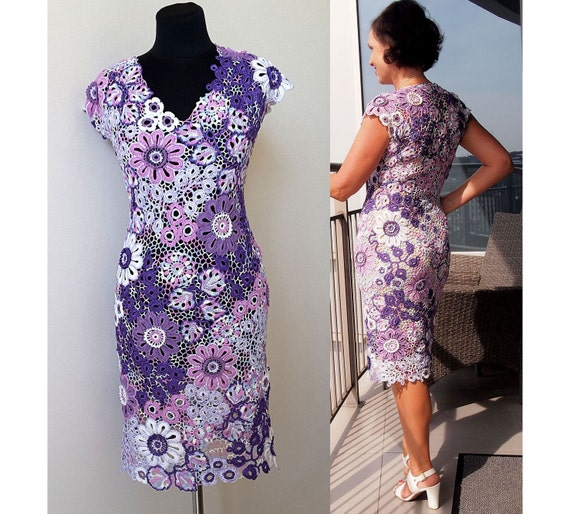 Irish Crochet Dress Patterndetailed Tutorialirish Lace Etsy
