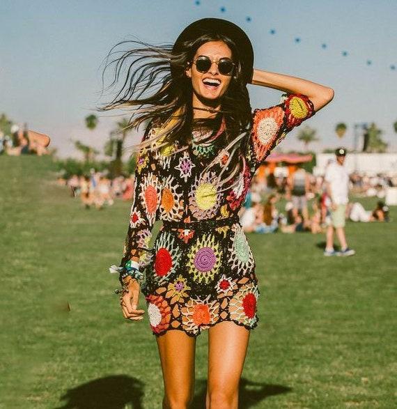 crochet boho dress pattern,detailed tutorial,hippie woman dress,crochet  mini beach dress,crochet plus size,crochet summer tunic,