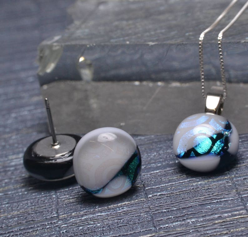 Royal Green and Black Swirls Handmade Dichroic Glass Jewelry Set Glistening White Matching Necklace and Earrings Sterling Silver Chain