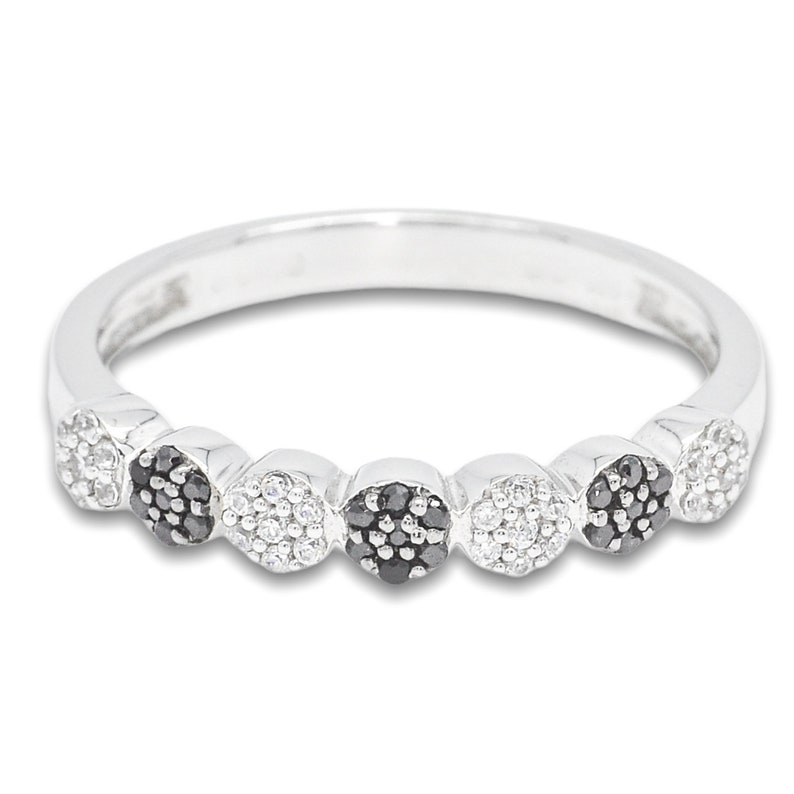 S925 Sterling Silver 7 Cluster Ring with White and Black Cubic Zircon CZ Ring R2802BLK