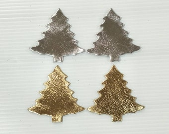 new metallic leather christmas tree 5 cm 2 high christmas cut outs christmas die cut leather earing christmas accessories