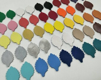 Leather Leaves, 50 Pcs. (25 Pairs), 40mm. High, Mixed Colors, Leaves Shape, Leaves Style, Leaves Die Cut, Earing Accessories,