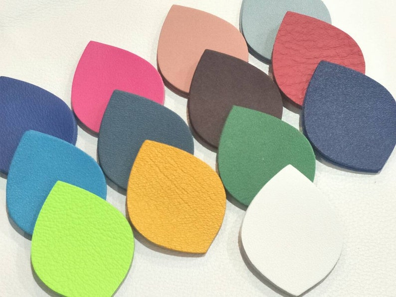 Smooth Leather Leaf Leaf Cut Outs Leaf Die Cut Leaf Shape Mixed Colors Earrings Accessories 12 Pairs+Free 1 pair 50mm.x38mm.