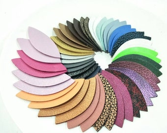 """NEW! Metallic Leather Leaves, 50 Pcs. (25 Pairs), 50mm. (2"""") 64mm. (2.5"""") 78mm. (3"""") Long, Mixed Metallic, Leaves Die Cut, Leaves Shape."""