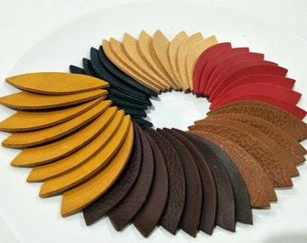 """NEW!  Vegetable Tanned Leather Leaves, 50 Pcs. (25 Pairs), 50mm. (2"""") 64mm. (2.5"""") 76mm. (3"""") Long,, Leaves Die Cut, Leaves Shape."""