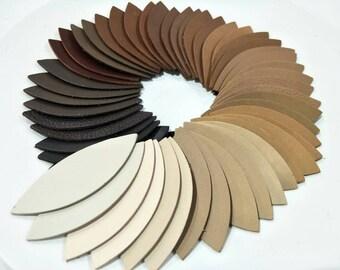 "Leather Leaves, 50 Pcs. (25 Pairs), 50mm.(2"") 64mm.(2.5"")78mm.(3"") Long, Brown Tone, Leaves Die Cut, Leaves Shape, Earing Accessories."