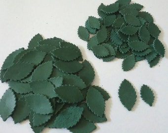 Leather Leaves, 50 Pcs, 20mm. 30mm. & Mixed Sizes High, Green, Leather Leaves Die Cut, Leather Leaves Decoration,DIY Projects.
